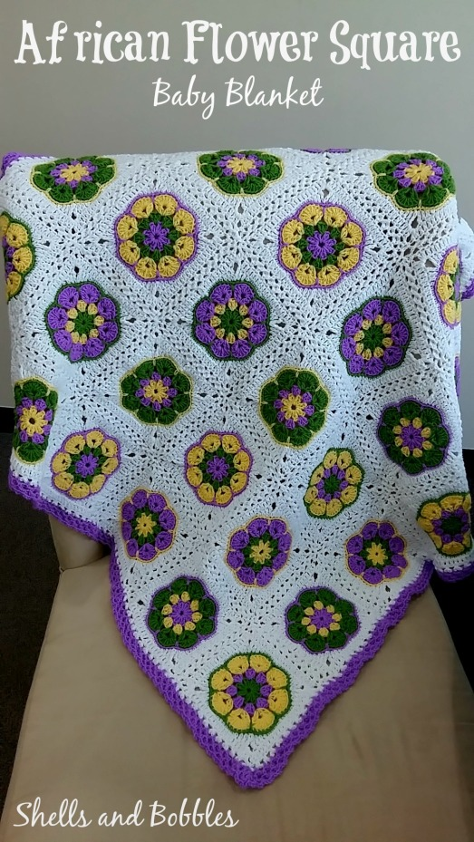 African flower Square baby blanket 3